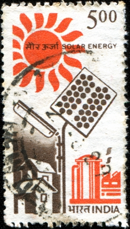 indian postal stamp: INDIA - 1988  A stamp printed in India shows Solar Energy, series, 1988