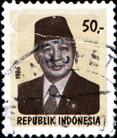 sukarno: INDONESIA - CIRCA 1986  A stamp printed in Indonesia shows President Sukarno  1901-1970 , circa 1986
