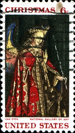 angel gabriel: UNITED STATES - CIRCA 1968  A Christmas greeting stamp printed by United States of America shows Angel Gabriel from The Annunciation, Jan Van Eyck  from National Gallery of Art, circa 1968  Editorial