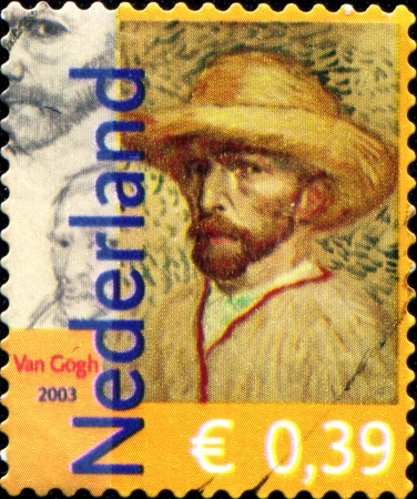 NETHERLANDS - CIRCA 2003  Postage stamp printed in Netherlands dedicated to Vincent van Gogh  1853-1890 , Dutch painter, circa 2003