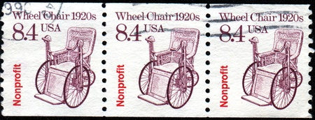 USA -CIRCA 1988  A stamp printed in United States of America shows Wheel Chair 1920s, Circa 1988