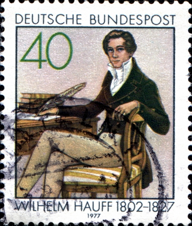 novelist: GERMANY - CIRCA 1977  A stamp printed in German Federal Republic shows Wilhelm Hauff - German poet and novelist, circa 1977