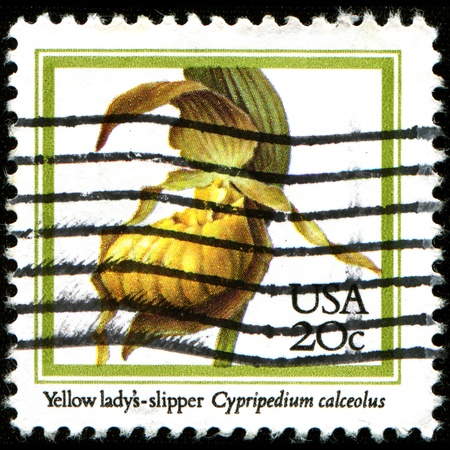 ady: UNITED STATES - CIRCA 1984  A stamp printed in United States of America shows Yellow lady