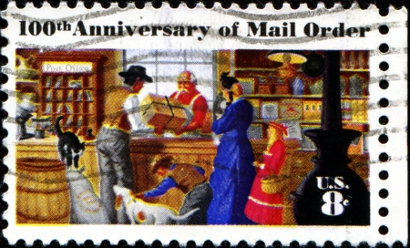 mail order: USA - CIRCA 1972 : A stamp printed in United States of America celebrating the 100th anniversary of mail order shopping, series, circa 1972  Editorial