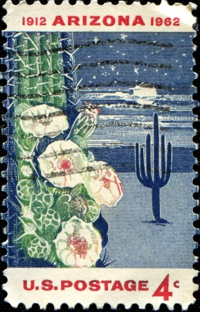 USA - CIRCA 1962  A stamp printed in United States of America shows Giant Saguaro Cactus, dedicated to the 50th anniversary of Arizona Statehood, circa 1962