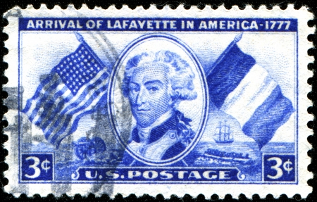 USA - CIRCA 1952  A stamp printed in United States of America shows arrival of Lafayette in America - 1777, circa 1952