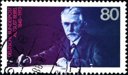 GERMANY - CIRCA 1988  A stamp printed in German Federal Republic shows August Bebel  1840-1913 , Founder of the Social Democratic Party, circa 1988