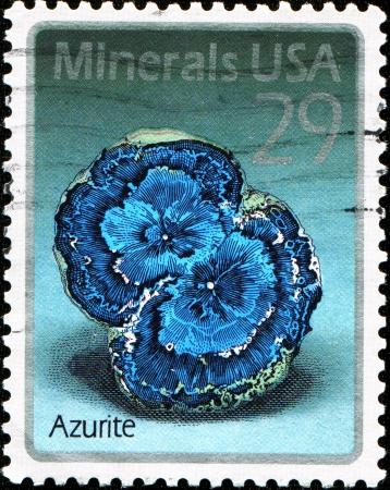 hydroxide: USA - CIRCA 1992  A stamp printed in United States of America shows Azurite, circa 1992 Editorial