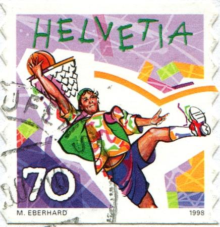 SWITZERLAND - CIRCA 1998  A stamp printed in Switzerland shows Street basketball, circa 1998