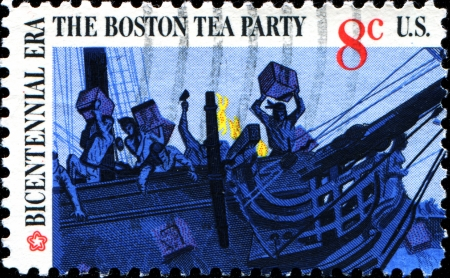 boston tea party: USA - CIRCA 1973  A stamp printed in United States of America shows Boston tea party, circa 1973