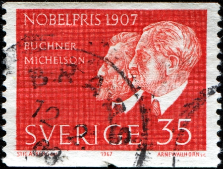 laureates: USA - CIRCA 1967  A stamp printed in United States of America shows Nobel Laureates Eduard Buchner and Albert A   Michelson, circa 1967 Editorial