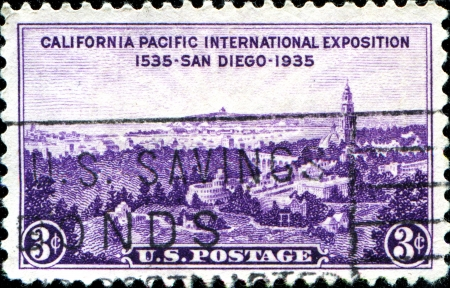 united states postal service: USA - CIRCA 1935  A stamp printed in United States of America shows San Diego view, California Pacific International Exposition, circa 1935 Editorial