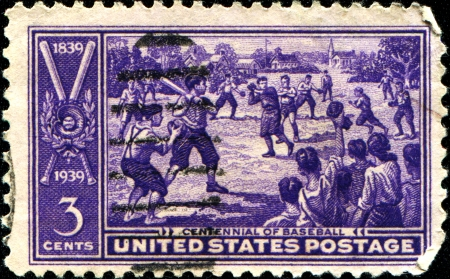 USA - CIRCA 1939   A stamp printed in United States of America shows Sand-lot Baseball Game, Centennial issue, circa 1939