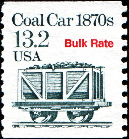 USA - CIRCA 1989  A stamp printed in United States of America shows Coal Car 1870s, Bulk Rate, circa 1989 Stock Photo - 18798704