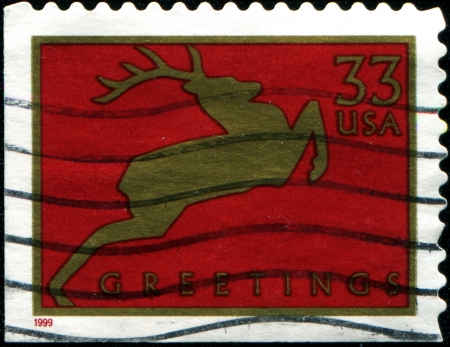 USA - CIRCA 1999  A stamp printed in United States of America shows deer, circa 1999 photo