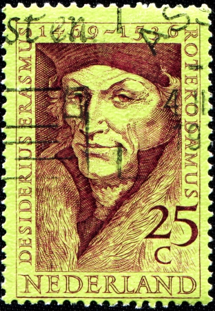 humanist: NETHERLANDS - CIRCA 1990  A stamp printed in the Netherlands shows Erasmus of Rotterdam, circa 1990 Editorial