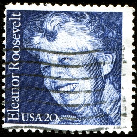 roosevelt: USA - CIRCA 1984  A stamp printed in United States of America shows Eleanor Roosevelt, circa 1984  Editorial