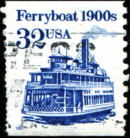 ferryboat: USA - CIRCA 1995  A stamp printed in United States of America shows Ferryboat 1900s, Circa 1995