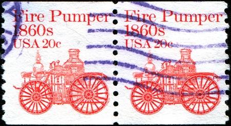pumper: USA - CIRCA 1981  A stamp printed in United States of America shows Fire pumper 1860s, fire truck, circa 1981