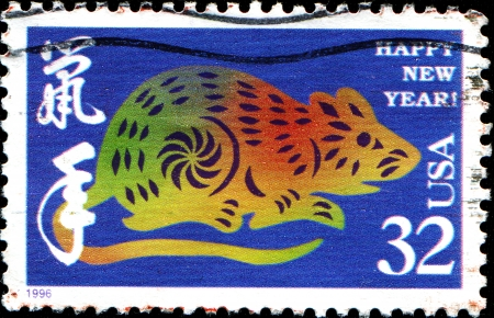 USA - CIRCA 1996  A stamp printed in United States of America shows fire rat, Happy New Year, circa 1996