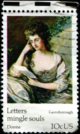 USA - CIRCA 1974  A stamp printed in United States of America shows Portrait of Mrs  Jean Douglas byThomas Gainsborough, circa 1974