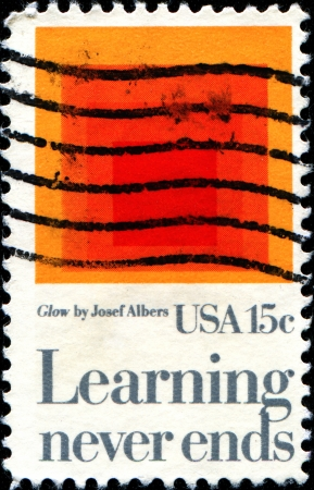 cancelled stamp: USA - CIRCA 1980  A stamp printed in United States of America shows Homage to the Square  Glow, by Josef Albers, Learning Never Ends, circa 1980