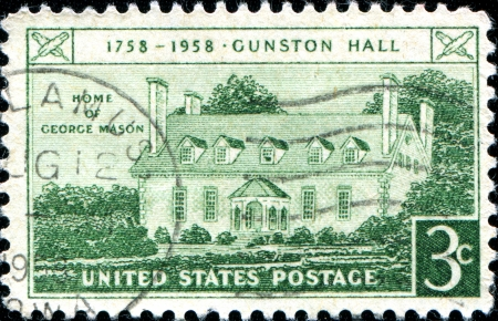 USA - CIRCA 1958: A stamp printed in United States of America shows Home of George Mason, Gunston Hall Issue, circa 1958