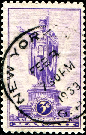USA - CIRCA 1937  A stamp printed in United States of America shows Statue of Kamehameha I,  1758-1819 , Honolulu, first King of Hawaii, circa 1937