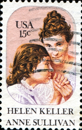 helen: USA - CIRCA 1980  A stamp printed in United States of America shows Helen Keller and Anne Sullivan, circa 1980