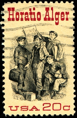 alger: USA - CIRCA 1982  A stamp printed in United States of America shows Frontispiece from  Ragged Dick , by Horatio Alger  1832-1899 , american Author, circa 1982