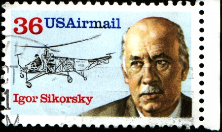 USA - CIRCA 1994  A stamp printed in United States of America shows Igor Sikorsky, circa 1994