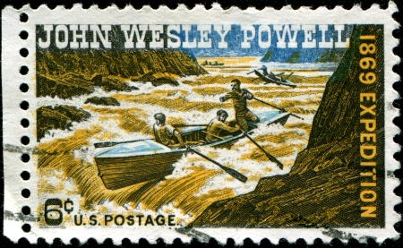 wesley: USA - CIRCA 1969  A stamp printed in United States of America shows John Wesley Powell soldier, geologist, explorer of the American West, professor at Illinois State University, and director of major scientific and cultural institutions expedition, 1869,