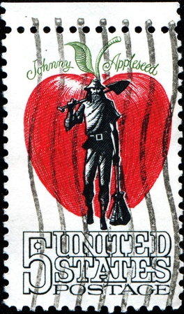 johny: USA - CIRCA 1966  A stamp printed in United States of America shows Johnny Appleseed, man who gave away and sold seedlings to Midwest pioneers, circa 1966
