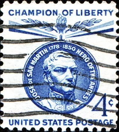 jose de san martin: USA - CIRCA 1959  A stamp printed in United States of America shows Jose de San Martin, 1st President of Peru, circa 1959