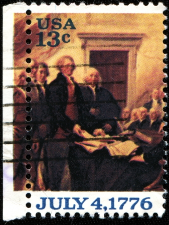 proclaimed: USA - CIRCA 1976  A stamp printed in United States of America shows USA proclaimed their independence from the British, Circa 1976
