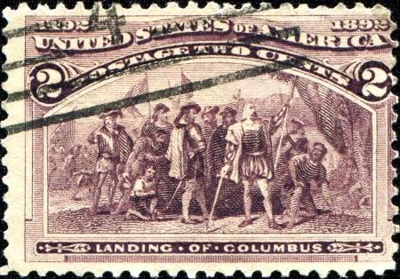 USA - CIRCA 1892  A stamp printed in United States of America shows landing of Columbus, Circa 1892