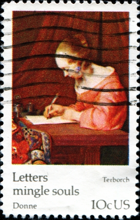 USA -CIRCA 1974  A stamp printed in United States of America shows paint  Letters mingle soul  by Gerard Terborch, Circa 1974