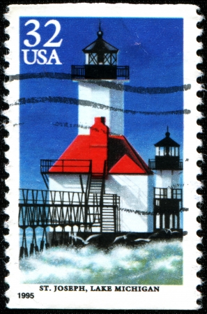 USA - CIRCA 1995  A stamp printed in United States of America shows lighhouse, St James, Lake Michigan, circa 1995