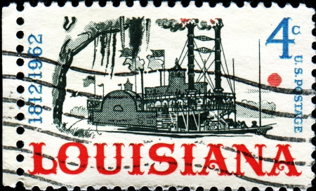 statehood: USA - CIRCA 1962  A stamp printed in United States of America shows Riverboat on the Mississippi, Louisiana Statehood Sesquicentennial, circa 1962