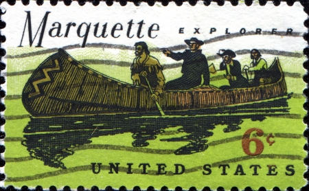 marquette: USA - CIRCA 1968: A stamp printed in United States of America shows stamp usa Marquette explorer, French Jesuit missionary, circa 1968 Editorial