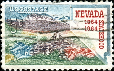 USA - CIRCA 1964: A stamp printed in United States of America shows Virginia City and Map of Nevada, Statehood Centenary, circa 1964