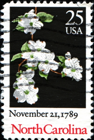 of ratification: USA - CIRCA 19: A stamp printed in United States of America dedicated to the 200th anniversary of the ratification of the Constitution of North Carolina, shows a plant Cornus alba, circa 1989