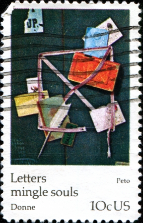 USA - CIRCA 1974  A stamp printed in United States of America shows paint Old Scraps  Old Letter Rack , John Fredrick Peto, circa 1974