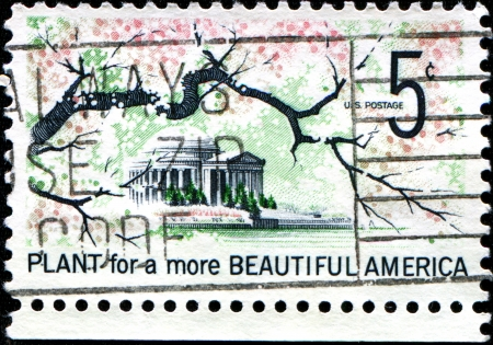 USA - CIRCA 1966  A stamp printed in United States of America shows  Japanese cherry blossom,  Jefferson Memorial, Washington,  Plant for a Beautiful America, circa 1966