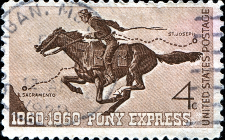 USA - CIRCA 1960  A stamp printed in United States of America shows Pony Express Rider, circa 1960