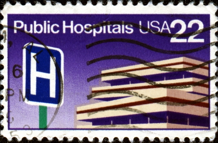 public hospital: USA - CIRCA 1980  A stamp printed in United States of America dedicated to the Public Hospital or government hospital is a hospital which is owned by a government and receives government funding, circa 1980