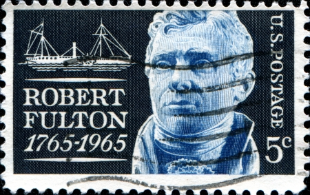 USA - CIRCA 1965  A stamp printed in United States honoring 200th anniversary of the birth of Robert Fulton  1765-1815  shows steamship  The Clermont , circa 1985