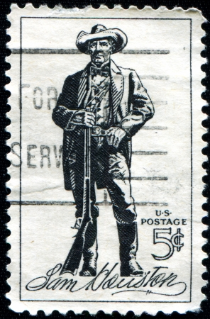 USA - CIRCA 1963  A stamp printed in United States of America shows Sam Houston  1793-1863 , soldier, president of Texas, US senator, circa 1963  Stock Photo - 18798696