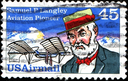 astronomer: USA - CIRCA 1988  A stamp printed in United States of America shows Samuel Pierpont Langley  1834-1906  Astronomer, Aviation Pioneer and Inventor, circa 1988