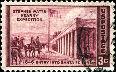 watts: USA - CIRCA 1946  A stamp printed in United States of America shows Stephen Watts Kearny expedition, entry into Santa Fe, Circa 1946